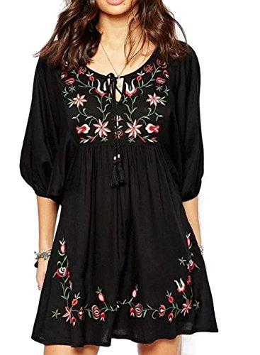 Damen Weiß mexikanische bestickte Weinlese V-Ausschnitt 3/4 Ärmel Minikleid Bauer Kleid Tops Shirt Blusen (Schwarz) -