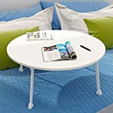 Falten Tisch Klapptisch Runden, Innen Computer Schreibtisch Studie Laptop Stand Bett Tablett Freizeit Faul Tabelle Draussen Tragbar Reise (Color : White)