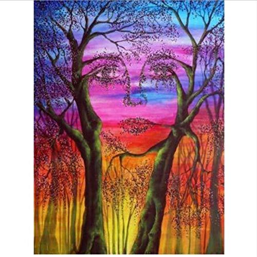 QAZZSF DIY Malen Nach Zahlen Wald Tot Baum Frau Gesicht Leinwand Wand Kunst Geschenke Ölfarbe Foto 40X50CM -
