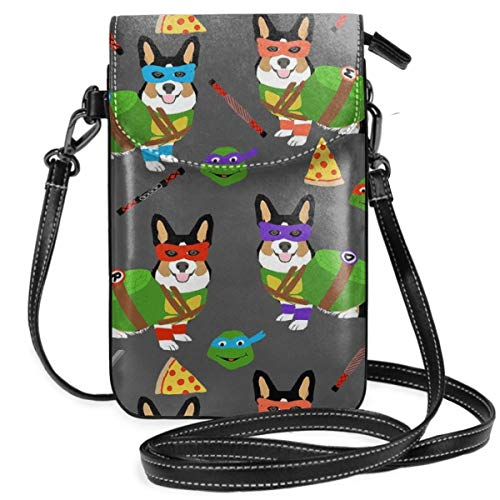 Tri Corgi Ninja Turtle Dog Dogs Cartoon Costume Ha Lightweight Leather Phone Purse, Small Crossbody Bag Mini Cell Phone Pouch Shoulder Bag For Women