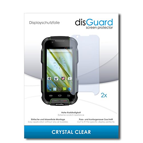 disGuard® Displayschutzfolie [Crystal Clear] kompatibel mit Simvalley Mobile SPT-900 V2 [2 Stück] Kristallklar, Transparent, Unsichtbar, Extrem Kratzfest, Anti-Fingerabdruck - Panzerglas Folie, Schutzfolie
