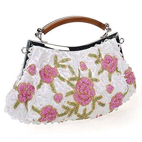 BMC Womens Pearl White Tiny Bead Encrusted Pink Flower Design Clutch Evening Bag