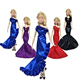 Lance Home® 4pz Sera Party Abito Vestito Buddle Lungo con 10 paia Scarpe per Barbie Bambola Accessori Regalo di Natale Stili Casuali