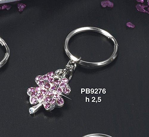 12 pz portachiavi quadrifoglio rosa bomboniera portafortuna comunione cresima in metallo by paben
