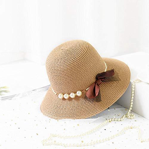 Grtodnz Damen-Sun-Hut-Sommer-Fischer-Hut-Faltbarer Strohhut-Feiertags-Einkaufsstrand-Hut im Freien,B - Hüte Größe 1 8 2 Ausgestattet
