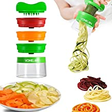VOMELON Cortador de Verduras en Espiral de 3 Cuchillas, Espiralizador de Verduras de Fácil uso Para Cortar Frutas y Verduras en Espiral, Juliana, Espaguetis, Tallarines, Cintas o Fideos