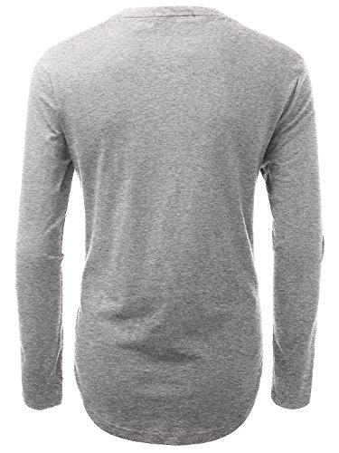 KAIUSI Herren Rundhals Langarmshirt Tee Shaped T-Shirts Hellgrau