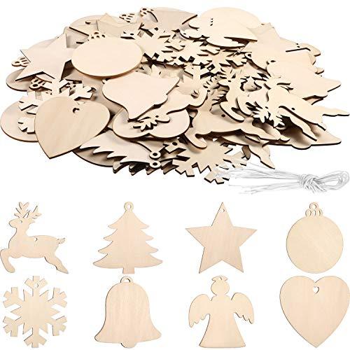96 Piezas de Adornos de Madera sin Acabado Adornos Colgantes de Madera de Navidad para DIY, Decoración Colgante Navideña con Formas Hermosos (Formas Variadas Blancas)