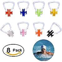Natation Pince-nez, 8pièces d'entraînement de bain en silicone Nez écran Plug pour adultes et enfants