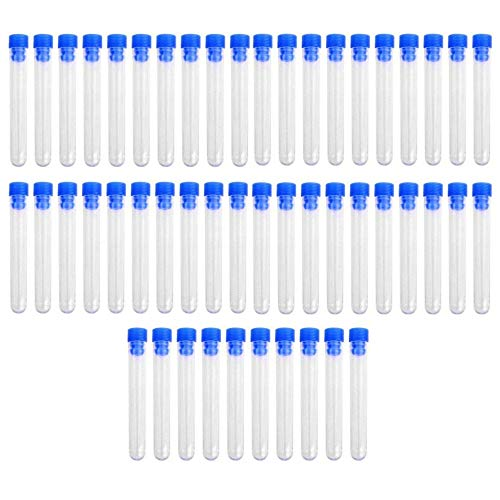JZK 50 x Tubos de ensayo plásticos transparente con tapas 5ml 12 x 75mm para almacenamiento líquido o cosas pequeñas