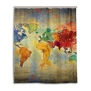 jstel Decor cortina de ducha Vintage mapa del mundo patrón impresión 100% tela de poliéster cortina de ducha 60x 72cm para el hogar baño decorativo ducha baño cortinas
