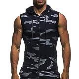 Haut Gilet Chemisier T-Shirt sans Manches à Capuche imprimé Estival pour Homme Malloom