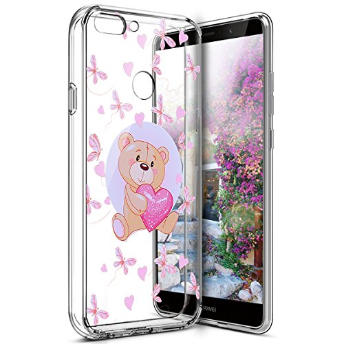 Surakey Coque Huawei P Smart Transparente Silicone Gel TPU Souple Housse Etui de Protection Bumper Dessin de Belle Fleur Papillon Crystal Clear Téléphone Couverture pour Huawei P Smart, Ours Rose