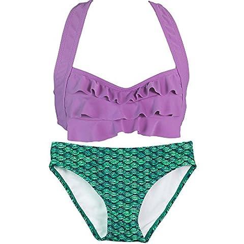 Fin Fun Mermaid Girls Sea Wave Bikini Set, Purple Top, Celtic Green Bottom, Small