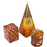 """Set de 3 Velas Nobunto pintado a mano desde África diseños """"Bongazi"""""""