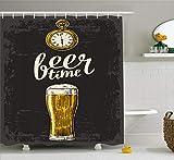 Abakuhaus Duschvorhang, Alte Uhr Beer Time Beschriftung Grau Schwarzer Hintergrund Oktoberfest Bier Orientierter Druck, Wasser und Blickdicht aus Stoff mit 12 Ringen Bakterie Resistent, 175 X 200 cm