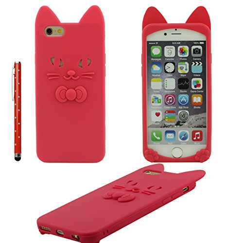 iPhone 6S Coque Mince Style, 3D Animal Chat Forme Divers Couleur Ultra Soft Doux Silicone Gel Housse de Protection Case Pour Apple iPhone 6 / 6S 4.7 inch avec 1 stylet - Rose rouge