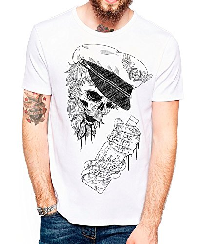 Maglietta Unisex - The Drunk Skull Sailor WH - White, L