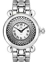 Glam Rock Vintage Damen-Armbanduhr 40mm Armband Edelstahl + Gehäuse Batterie Zifferblatt Weiß GR28071