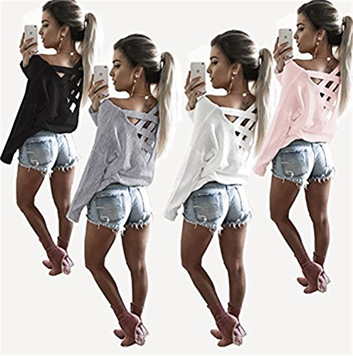 Faith Wings Donna Manica Lunga Camicetta Maglietta T-Shirt Maglia Blusa Sexy Indietro Collo V Pullover Maglie a Manica Lunga Rosa