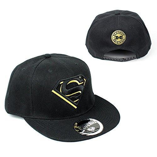 DC Comics Herren Superman Baseball Cap - Classic Logo Herren Snapback Cap Schwarz/Gold