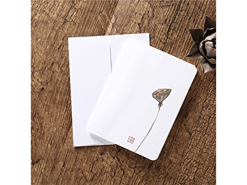 Suprerhoung biglietti d'auguri con buste biglietti d'auguri in bianco carte cinesi classiche stampa d'epoca floreale (lotus seedpod)