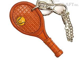 Genuine leather bag charm tennis racket [product made in Japan, handmade new] (japan import)