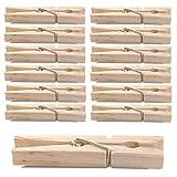 40 Stück XXL Wäscheklammern aus Holz, naturbelassene Holzklammern 10cm, Holzwäscheklammern groß, mit starker Metallfeder und robust verarbeitet zum Aufhängen der Wäsche, optimale Größe