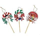 Christmas Decor Polymer Clay Lollipop Desktop Decoration Ornaments Kids Gift Kindergarten Decor For Christmas Home Party (Santa Claus Snowman Reindeer)