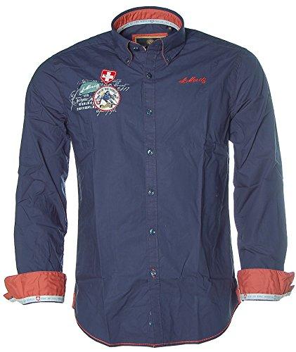 St. Moritz Herren Langarm Hemd Shirt Button-Down Alpine Ski World Cup Dark Ocean L