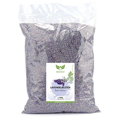 NaturaForte Lavendelblüten 500g Lavendel ohne Zusätze - Bläulich - Intensiver Duft - Getrocknete Lavendel Blüten - Für Duftkissen, Lavendeltee oder Lavendelsäckchen - Potpourri Duft (Potpourri Duft-Öl)
