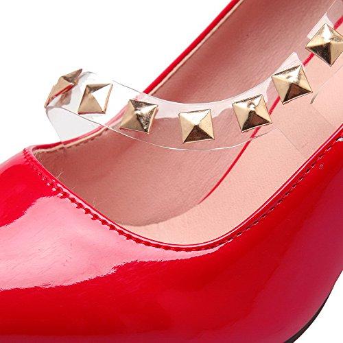 AllhqFashion Femme à Talon Haut Mosaïque Tire Verni Pointu Chaussures Légeres Rouge