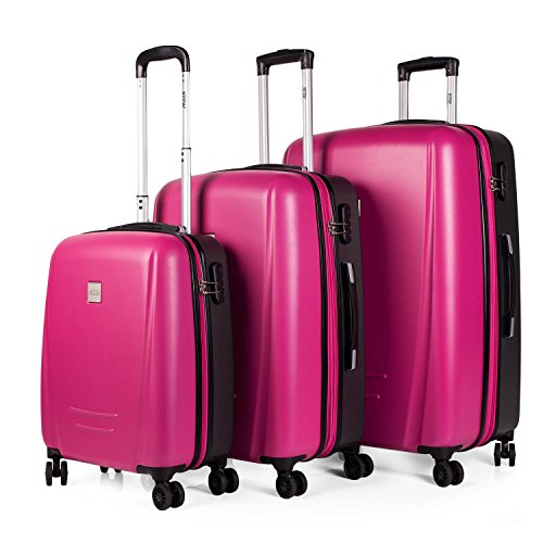 Set de 3 trolleys modelo Denver - Fucsia-Gris oscuro