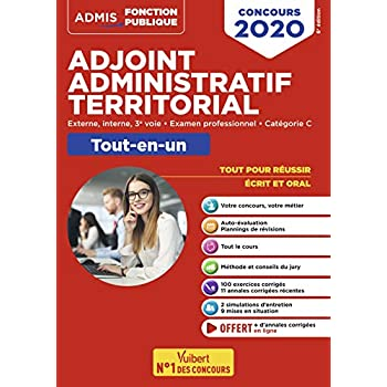 Concours Adjoint administratif territorial - Catégorie C - Tout-en-un - Concours externe, interne, 3e voie, examen professionnel 2020