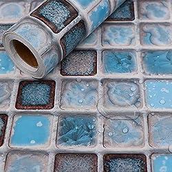 Hode Stickers Carrelage 40X200cm Autocollant Mural Imperméable Auto-adhésif en Mosaïque pour la Salle de Bain et la Cuisine (Bleu)