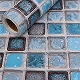 Hode Adhesivo de Azulejo para Cocina, Baño 40X200cm Mosaico Efecto 3D Pegatinas de Baldosas-Stickers Azulejos (Azul)