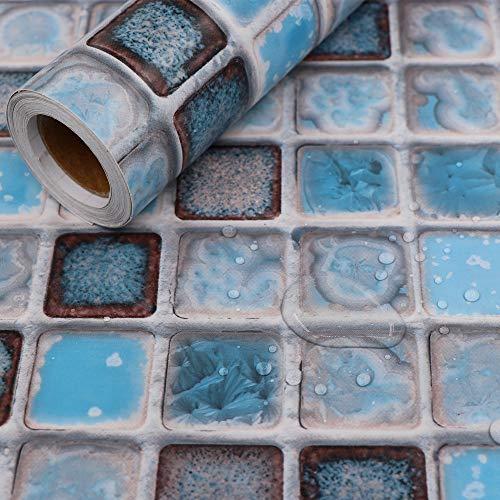 Hode Klebefolie Fliesenaufkleber, Dekorative Fliesenfolie 40cmX200cm(Blau) Vinyl, für Badezimmer Wand, Leicht zu Reinigen