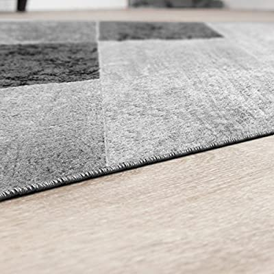 Modern Living Room Rug with Chequered Design Grey/Black - low-cost UK light store.