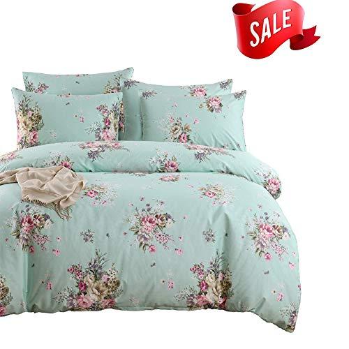 SexyTown Shabby Wende Druck Bettbezug-Set mit Reißverschluss 100% Baumwolle Bettwäsche-Set Queen e