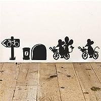 """Apioffer Agujero de ratón""""Bikes rodapié pared Art Vinilo Adhesivo"""" 19 cm x 5 cm (ratón)"""
