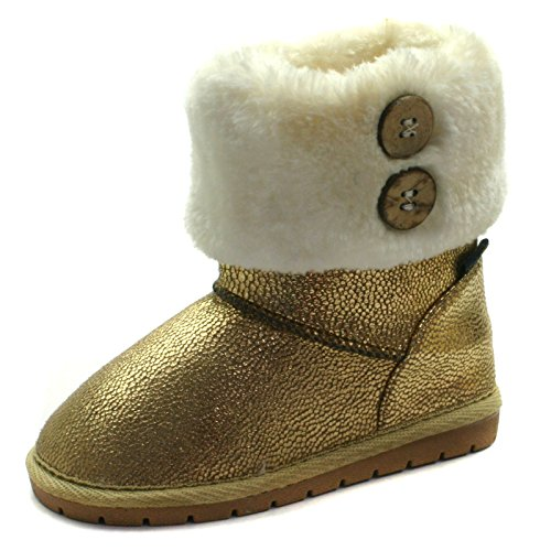 SB121 Studio BIMBI Girls Mid Calf Pull On Baby Boots in Gold Metalic Taglia 27