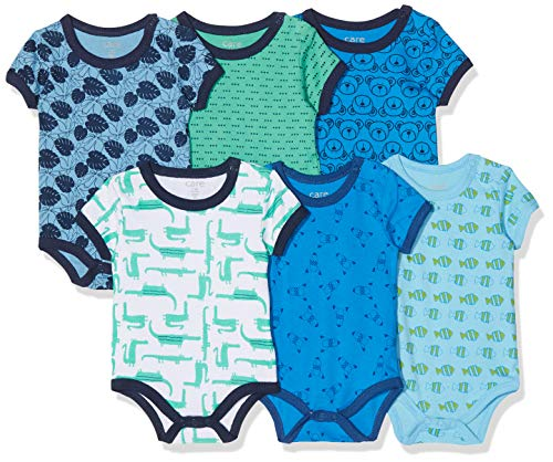 (Care Baby - Jungen Kurzarm-Body im 6er Pack, Blau (Light Sky Blue 770), 86)