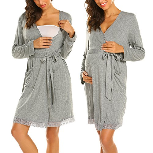 MAXMODA Damen Stillnachthemd Umstandskleid Stillkleid Umstands-Nachthemd mit Stillfunktion (S-XXL)