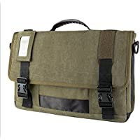 Premium tela a tracolla messenger bag per Apple MacBook Pro 17pollici/Lenovo Z70/Y70touch/G70/Z70–80/Lenovo IdeaPad 300/ThinkPad P70/IdeaPad Y700portatile 43,9cm verde Olive