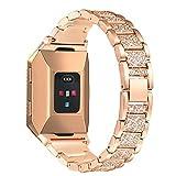 Bayite Bracelet de remplacement en métal avec strass Modèle B pour montre Fitbit Ionic, rose gold, 5.5