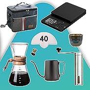 مجموعة تحضير القهوة المقطرة 8 في 1 بطريقة كيمكس من ميبرو مع شنطة، سعة 800 مل
