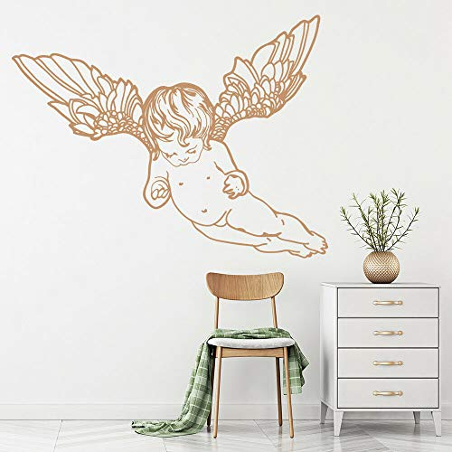 zqyjhkou Flying Cherub Angelo Wall Sticker Nursery Baby Room Decalcomania da Muro in Vinile Camera da Letto Decalcomanie da Muro Soggiorno Nordic Home Decor 32x42cm