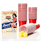 Lumaland Vasos de Fiesta Extra Resistentes 16 oz Beer Pong Vasos 100 Unidades + 6 Pelotas para Beer Pong, Rojo