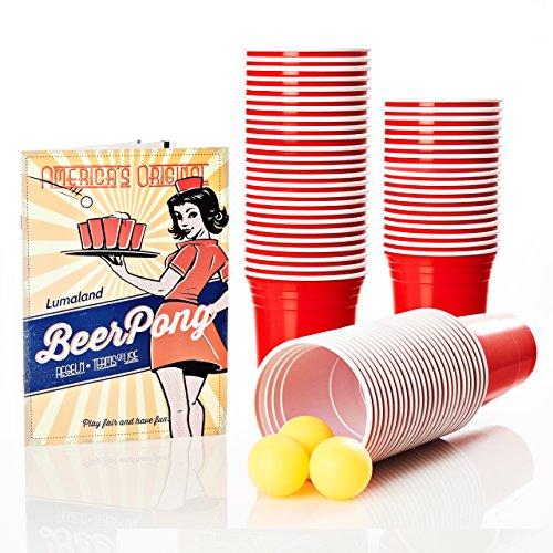 Lumaland Beer pong gobelets de fête plastique extra résistant 100 pièces Rouge