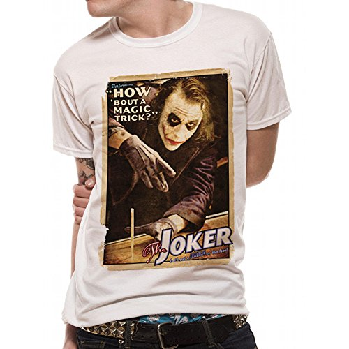 BATMAN THE DARK KNIGHT - MAGIC TRICK T SHIRT BATMAN PRINT White with Gift Box Small (ALL Sizes) - Official Licensed Product CID - PE12291TSWP03